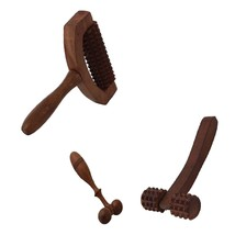 Wooden Set of 3 Hand Massager Roller Body Stress Acupressure Acupuncture... - $529,23 MXN