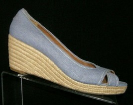 Franco Sarto 'Cheria' blue canvas cross strap peep toe espadrille wedges... - $33.30
