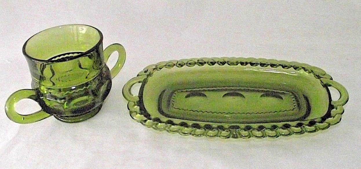 Green Indiana Glass Creamer Dish Thumbprint Kings Crown Butter Replacement Vtg
