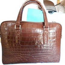 Crocodile/ Alligator Leather Brown Laptop BAG/ Messenger/ Office Shoulder Bag - $899.99