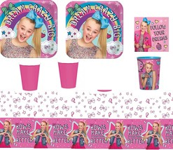 JoJo Siwa Party Supply Kit for 16 Guests - Plates, Cups, Napkins, Tablec... - £24.68 GBP