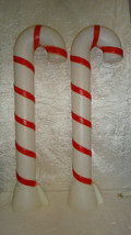 """2 Vintage Candy Cane Blow Molds 32"""" Lighted - $69.29"""