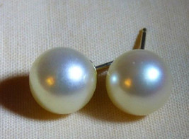 Vintage 1960s Pair 14K Gold Cultured 8mm PEARL Stud EARRINGS Creamy Rosy Color - $300.00
