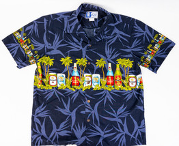 RJC Mens Hawaiian Shirt Dark Blue Palm Trees and Brews Made in Hawaii Si... - $19.58