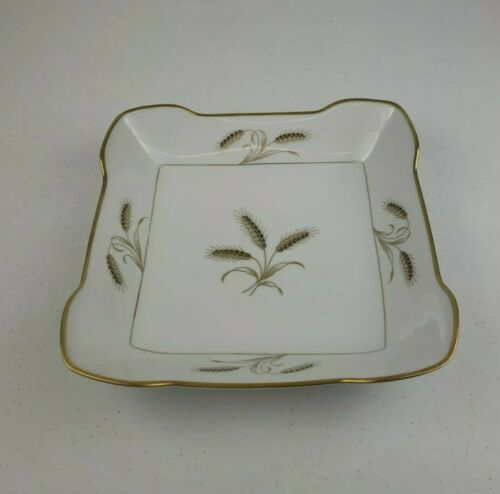 "Primary image for Rosenthal Bountiful Wheat Gold Rim Helena Shape 9"" Square Vegetable Serving Bowl"