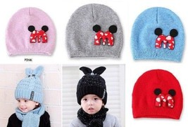 Winter Warm Suit Set Baby Kids Thick Cable Knitted Cap Rabbit Ear Hat an... - $8.54
