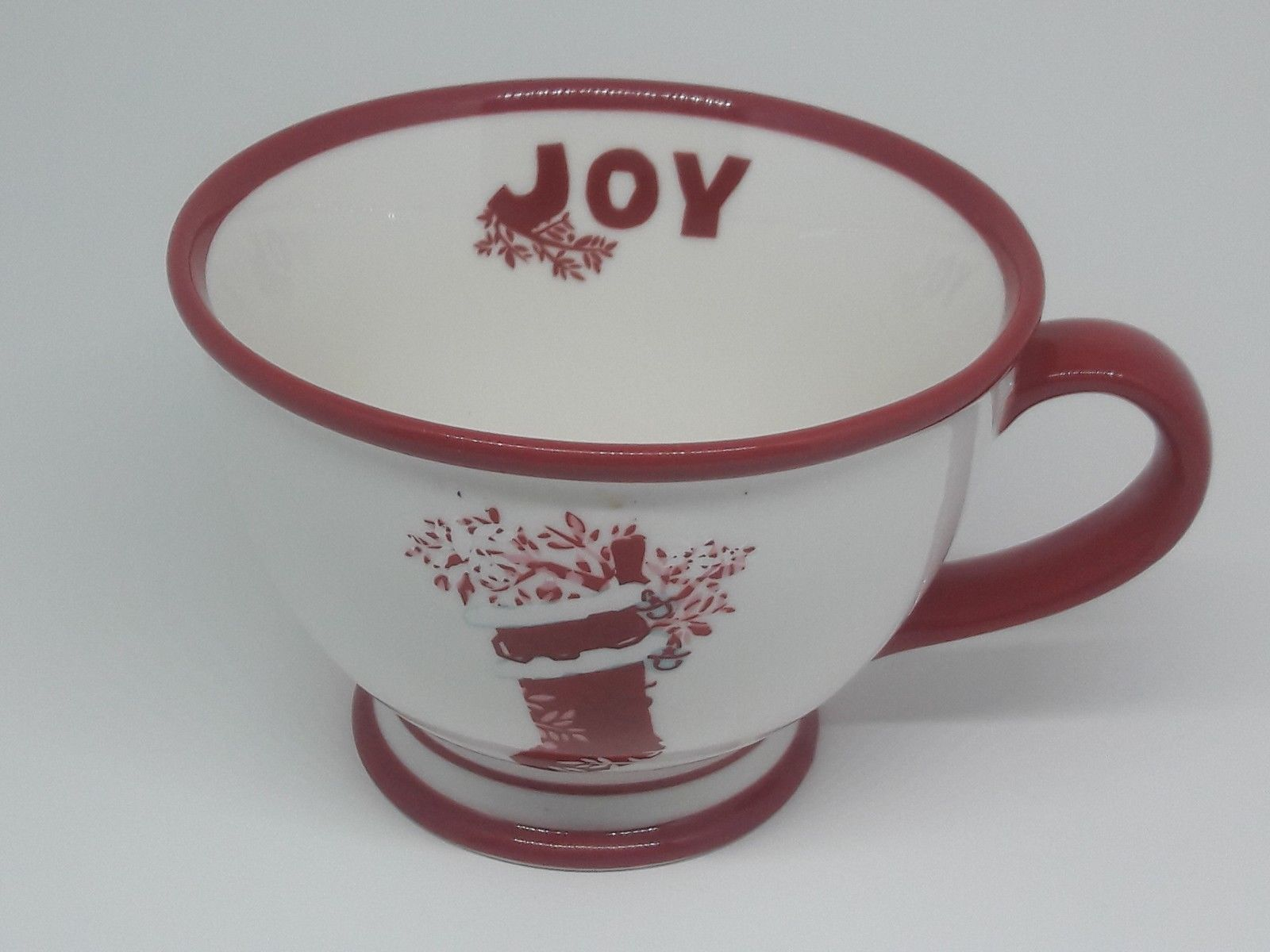 Primary image for Starbucks Coffee Holiday 2007 Off White Red Christmas Stocking Joy Mug Cup 10 oz