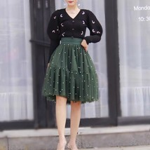 Army Green A-line Knee Length Tulle Skirt High Waisted Puffy Tutu Party Skirt image 3