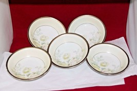 SEt of 5 Small bowls marked PRUSSIA w/ Griffin Gold Rims Pale Yellow Pin... - $18.76