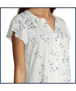 NWT Liz Claiborne Short Sleeve Cream & Blue Floral High/Low Blouse/Top  ... - $12.00