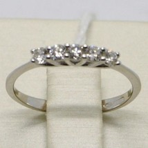 White Gold Ring 750 18K, Veretta With 5 Diamonds, Carat 0.25, Made In Italy - $950.23