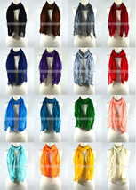 Solid Color Wrinkle Plain Spring Summer Scarf Wrap See Through Light Weight - $5.95