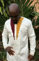 Odeneho Wear Men's White Polished Cotton Top/ Embroidery. African Clothing - $79.19+