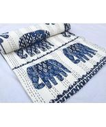 Queen Size Elephant Patch Print 90x108 Indian hand blocked Kantha Quilt Kantha B - €123,43 EUR
