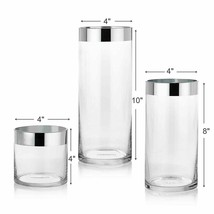 Nice Artsy Timeless Simple Set of 3 Glass Decor Flower Vases w/ Silver T... - $49.95