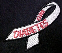 Diabetes Sweatshirt XL Embroidered Awareness Ribbon Black Hoodie Unisex New - $34.89