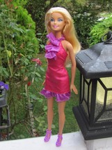 Mattel Blonde Haired Blue Eyed Barbie Dressed in Pink & Purple Dress & H... - $11.29