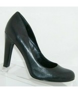 Jessica Simpson 'Jessica' black leather round toe slip on heel pump 7.5B... - $31.43