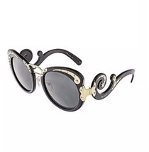 NIB Prada Women's PR07TS-1AB1A1-54 Black And Gold Round Sunglasses Baroque - $232.82