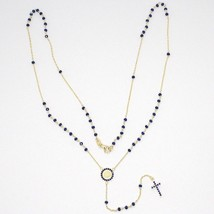 18K YELLOW GOLD ROSARY NECKLACE, FACETED SAPPHIRE ROOT, CROSS & MIRACULOUS MEDAL image 2