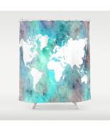 Shower curtains art shower curtain Design 62 World map Aqua turquoise L.... - $68.99