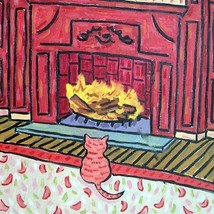 tabby cat by the fireplace ceramic ANIMAL tile coaster - $14.99