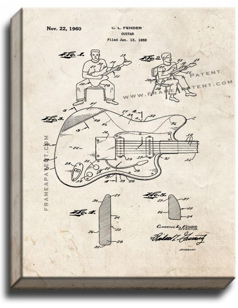 Primary image for Clarence Fender Guitar Patent Print Old Look on Canvas