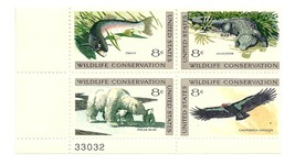 US #1427-1430 MNH OG F/VF Numbered Plate Block of 4, 8c Wildlife Conserv... - $1.25