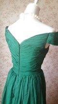 Emerald green Retro Off Shoulder Long Prom Dress Womens Green Maxi Evening Dress image 6