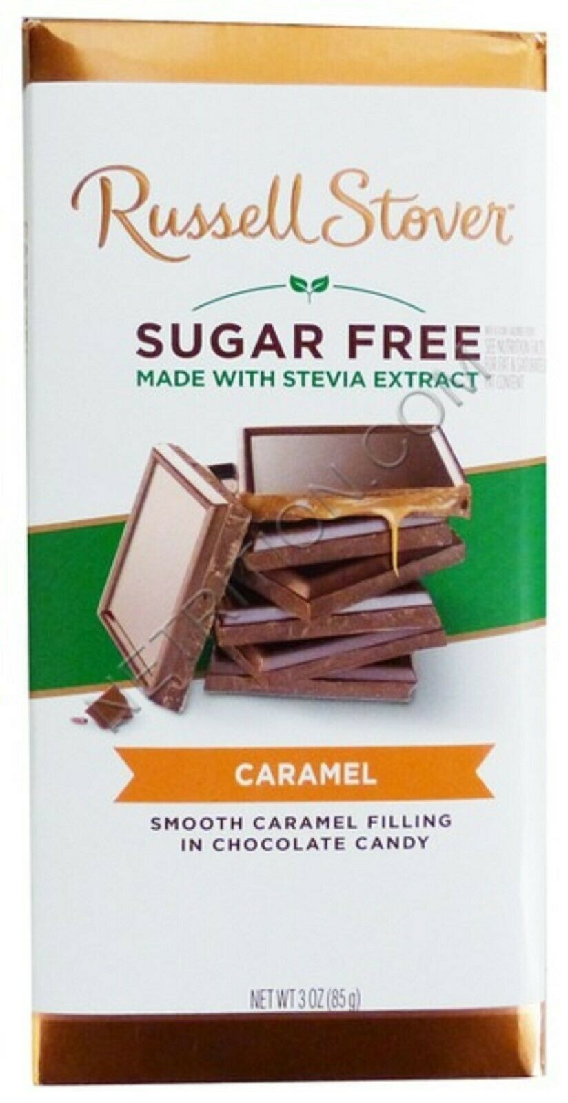 Primary image for 4 RUSSELL STOVER SUGAR FREE CHOCOLATE CANDY BAR 3oz ea Caramel