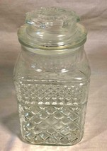 """VINTAGE 9"""" ANCHOR HOCKING CLEAR GLASS KITCHEN CANISTER WITH LID MADE IN ... - $25.73"""