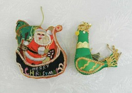 2 Vintage Satin Christmas Ornaments - Santa Bird Embroidery Sequins Gold - $15.83