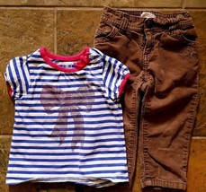 Girl's Size 18-24 M Months 2 Piece Old Navy Striped Bow Top & Brown Hear... - $21.00