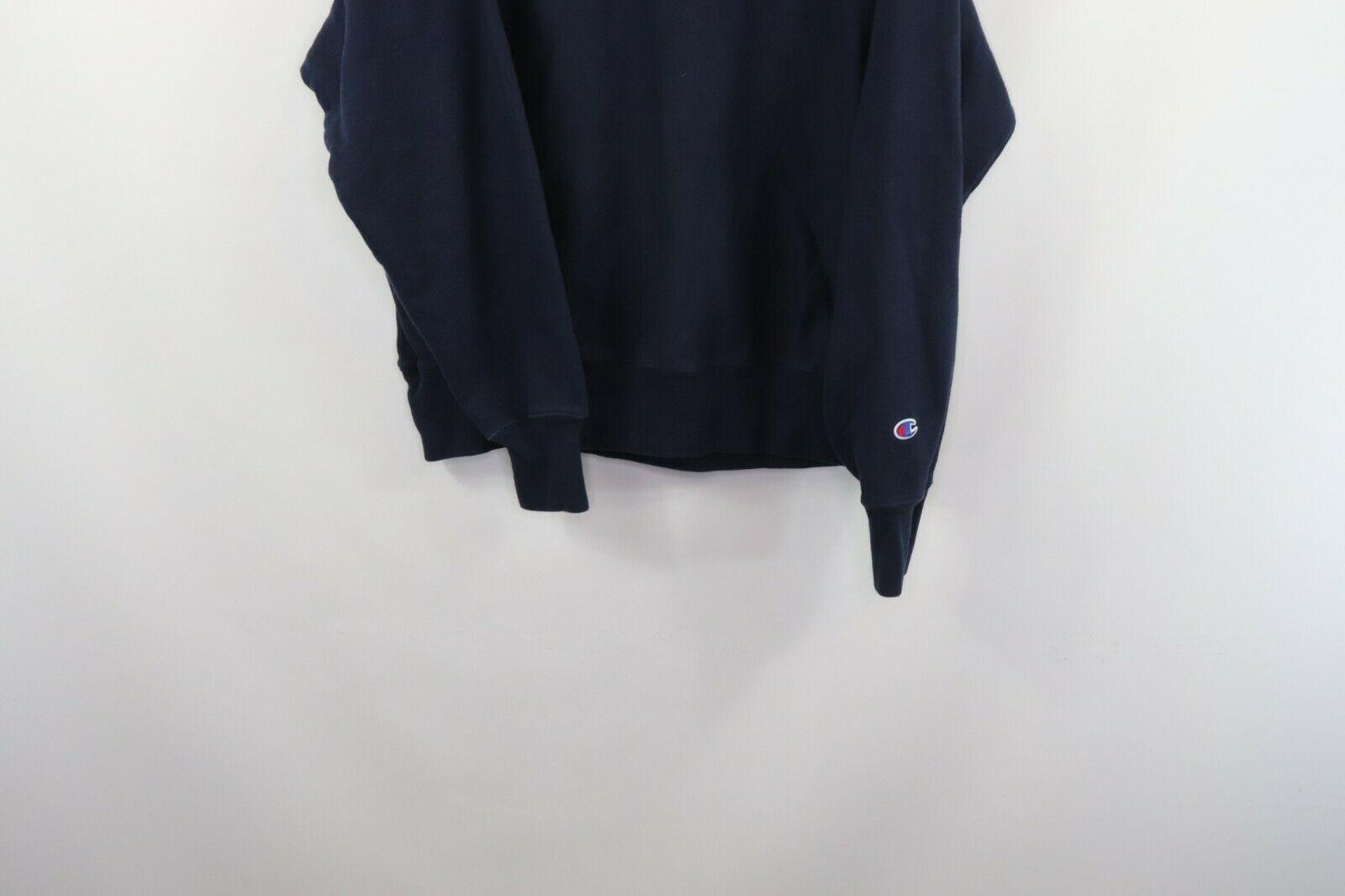 Champion Reverse Weave Mens Large Optimize Spell Out Crewneck Sweatshirt Blue image 3