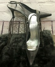 Stuart Weitzman Slingback Pumps Kitten Heels Silver Metallic Rhinestone ... - £49.18 GBP