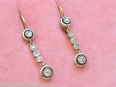 Primary image for ANTIQUE ART DECO .50ctw DIAMOND PLATINUM HALO SMALL DANGLE WIRE EARRINGS 1930