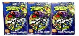 "Teenage Mutant Ninja Turtles 18"" Foil Happy Birthday Party Balloons lot of 3 - $12.86"