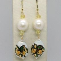 Ohrringe aus Gold Gelb 750 18K Perlen Fw und Tropf Bemalt Hand Made in Italy image 1