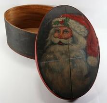 Vintage 1993 Wooden Oval Hand Painted Christmas Xmas Holiday Santa Conta... - $30.90
