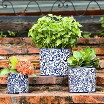 Set of 3 Floral Blue & White Planter Pot Flower Decorative Gardening Yar... - $59.40