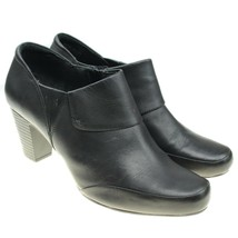CLARKS Bendables Womens Size 11 Black Leather Side Zip Booties Boots - $27.71