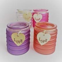 Glass Candleholder for Votive Tea Light Candles, Wood Love tag Purple Red Pink image 1