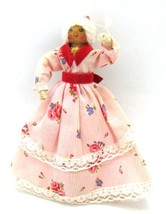 Christmas Clothespin Girl in Pink Dress Vintage Tree Holiday Ornament 4.... - $19.79