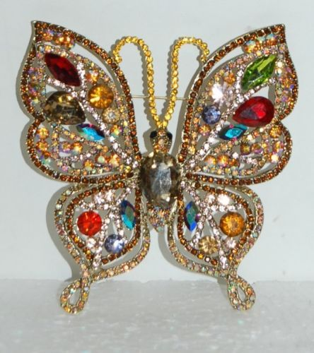 Sophia Collection Gold Outlined Butterfly Brooch Colored Jewels JP3691 BR