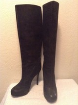 VERA WANG LAVENDER Black Distressed Textured Leather Knee High Boots Siz... - $44.97