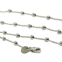 18K WHITE GOLD BALLS CHAIN 2 MM, 31.5 INCHES LONG, SPHERE ALTERNATE OVAL ROLO image 2