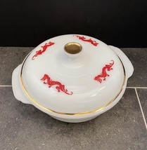 Vintage 50s Fire King Red Dragon 1.5qt casserole with lid image 1