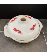Vintage 50s Fire King Red Dragon 1.5qt casserole with lid - $55.00