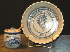 Daviess County Westerwald Stoneware Honey Jar & Pie Plate AA-191830 image 6