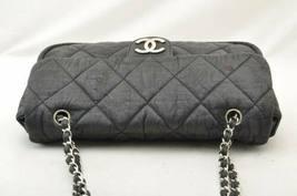 CHANEL Nylon Matelasse Chain Shoulder Bag Black Auth 9576 **Powder image 6